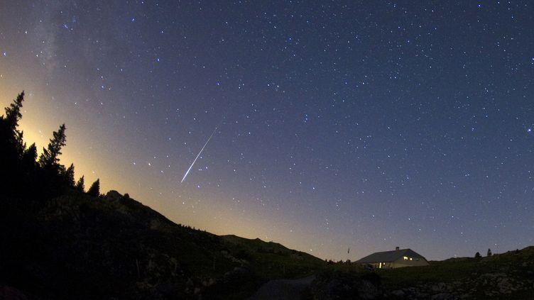 Une météore passe dans le ciel du Mont Tendre, dans le Jura suisse, le 12 août 2009. (DENIS BALIBOUSE / REUTERS)