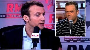Capture d'écran montrant Emmanuel Macron et en médaillon Mickael Wamen, syndicaliste CGT et ex-salarié Goodyearsur l'antenne de RMC, le 20 janvier2016 (RMC / BFMTV / DAILYMOTION)