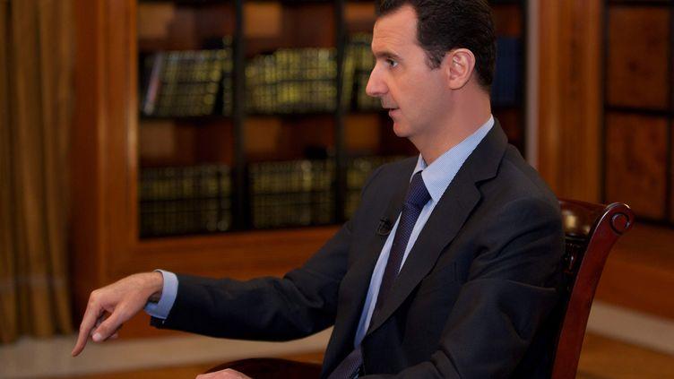 Bachar Al-Assad, le 21 octobre 2013, à la télévision libanaise. ( REUTERS)