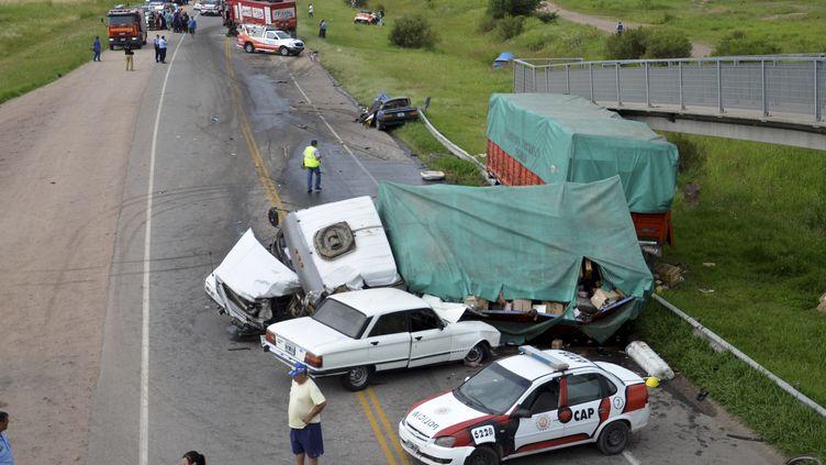 Le camion d'assistance de la voiture de Lionel Baud a été impliqué dans un nouvel accident mortel sur la route de Cordoba (Argentine), le 12 janvier 2016. (IRMA MONTIEL / TELAM / AFP)