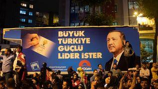 Des supporters de Recep Tayyip Erdogan fêtent sa victoire, le 25 juin 2018 à Istanbul (Turquie). (MARIE TIHON / HANS LUCAS / AFP)
