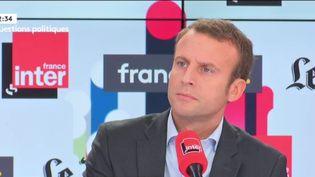 Emmanuel Macron, le 4 septembre 2016 sur franceinfo. (FRANCEINFO)