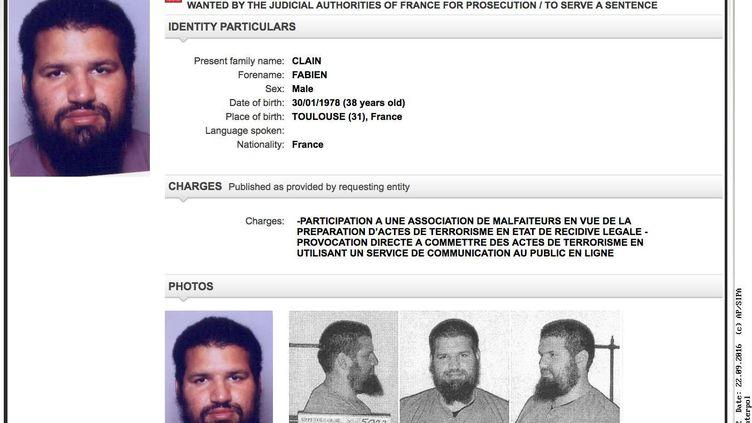 La fiche Interpol de Fabien Clain, l'une des voix de l'Etat islamique en France. (AP / SIPA)