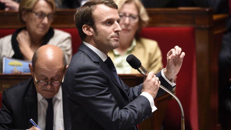 Le ministre de l'Economie, Emmanuel Macron, le 15 octobre 2014 à l'Assemblée nationale. (MARTIN BUREAU / AFP)