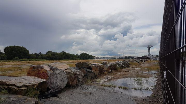 Le quai Wilson, propriété du port autonome, est désormais équipé d'une grille qui interdit tout accès. La Loire se trouve à gauche, après les espaces couverts d'herbe.  (FABIEN MAGNENOU / FRANCEINFO)