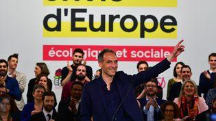 La tête de liste du PS et de Place publique pour les Européennes, Raphaël Glucksmann, lors de son premier grand meeting, à Toulouse, le 6 avril 2019. (PASCAL PAVANI / AFP)