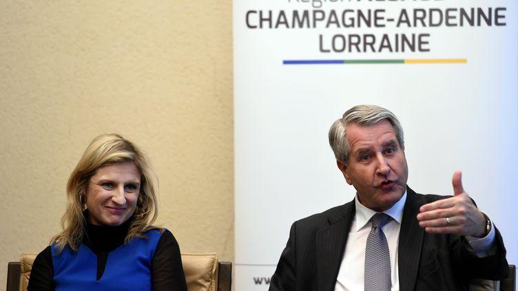 Philippe Richert et Valérie Debord à la maison de la région Lorraine à Nancy (Meurthe-et-Moselle), le 12 mars 2016. (MAXPPP)