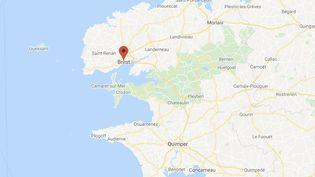 L'homme a attaqué l'agent de sécurité devant un bar du centre-ville de Brest (Finistère). (GOOGLE MAPS)