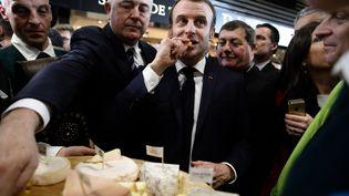 Emmanuel Macron au 57e Salon de l'agriculture à Paris, le 22 février 2020. (CHRISTOPHE ENA / POOL / AFP)