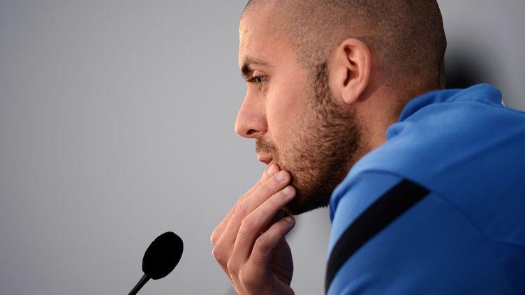 Le joueur Jérémy Ménez durant une conférence de presse à Clairefontaine, près de Paris, le 13 octobre 2012. (FRANCK FIFE / AFP)