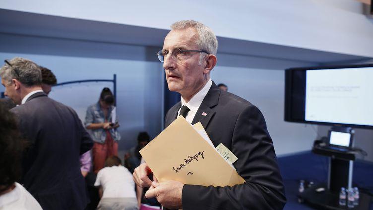 Le président de la SNCF, Guillaume Pepy, le 24 juillet 2013, lors de la conférence de presse sur les causes de l'accident de Brétigny-sur-Orge (Essonne). (MAXPPP)