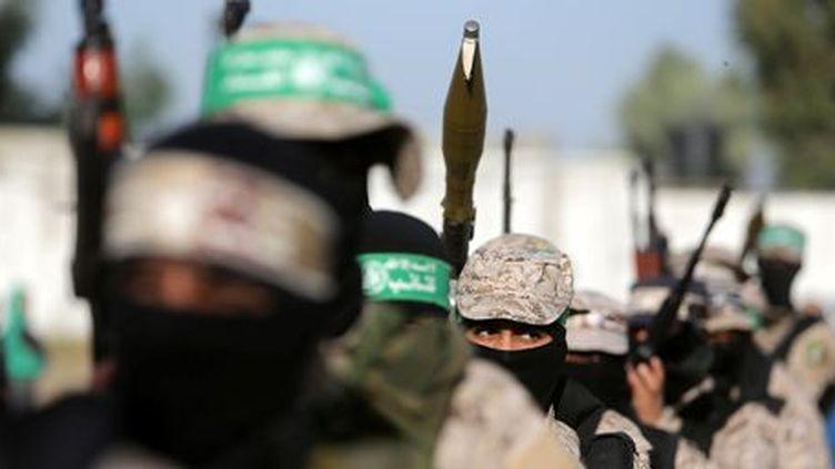 Militants du Hamas lors d'une manifestation contre Israël à Gaza le 25 novembre 2016 (REUTERS - Ibraheem Abu Mustafa)