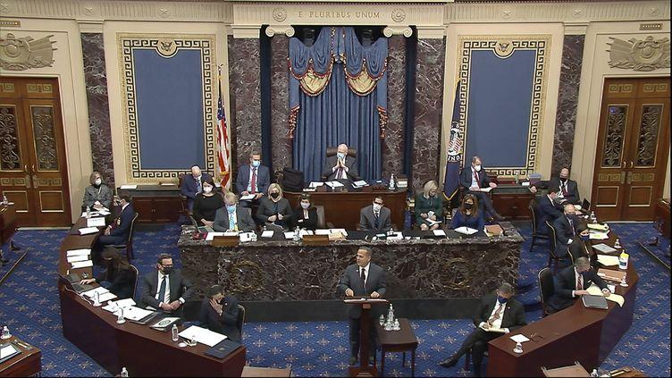 Le responsable de la mise en accusation de la Chambre, le député David Cicilline,s'exprime lors du deuxième procès de mise en accusation de l'ancien président Donald Trump au Sénat, au Capitole américain à Washington, le mardi 9 février 2021. (AP/SIPA)