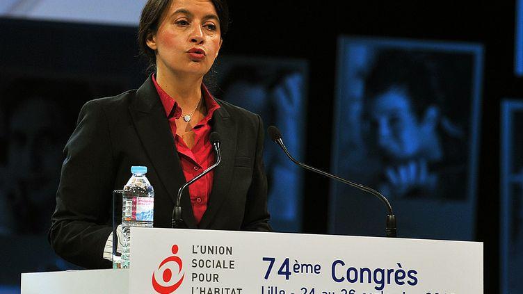 Cécile Duflot, la ministre du Logement, le 24 septembre 2013 lors du 74e congrès de l'Union sociale pour l'habitat, à Lille (Nord). ( MAXPPP)