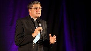 Le président de la Conférence des évêques de France,Eric de Moulins-Beaufort, le 14 septembre 2021 à Reims (Marne). (FRANCOIS NASCIMBENI / AFP)