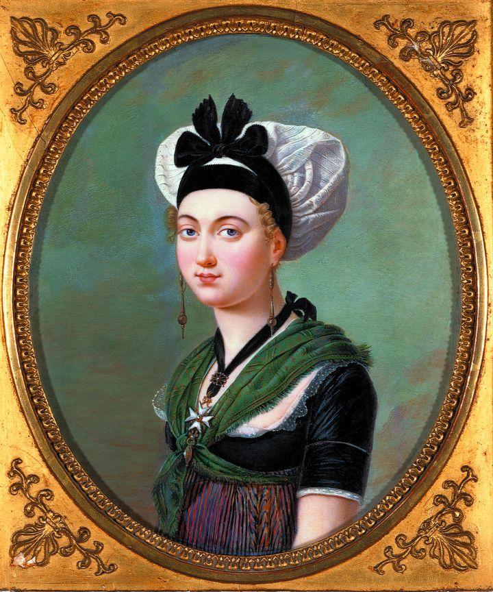 """Exposition """"Antoine Raspal. Des tableaux aux costumes provençaux"""" : gravure de femme"""