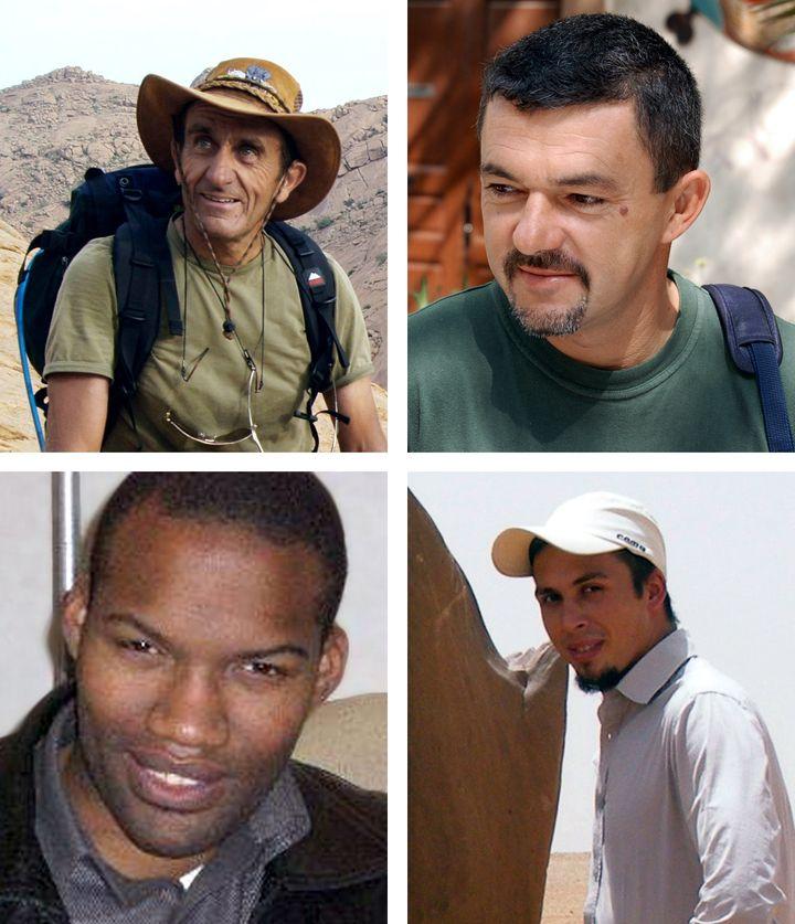 De haut en bas et de gauche à droite, les otages français enlevés à Arlit (Niger) en septembre 2010 :Daniel Larribe, Marc Féret, Thierry Dol et Pierre Legrand. (AFP)