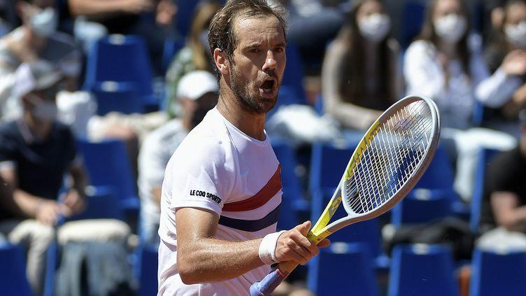 Le Français Richard Gasquet a dominé l'Argentin Diego Schwartzman en huitièmes de finale du tournoi ATP 250 de Lyon, jeudi 20 mai. (MAXIME JEGAT / MAXPPP)