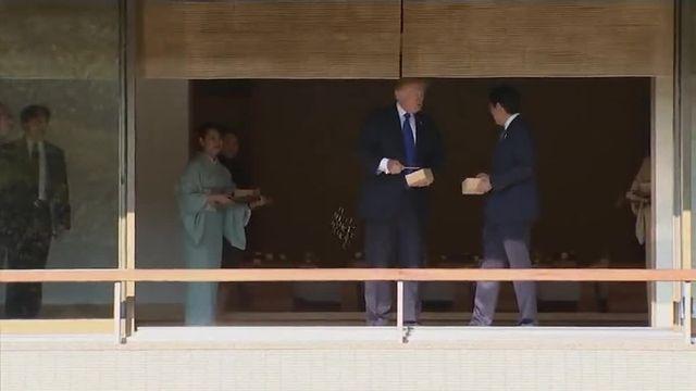Trump et Abe nourrissent des carpes
