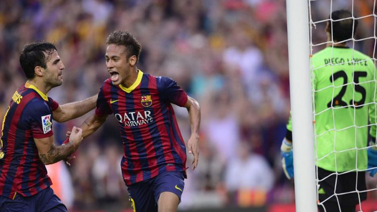 Neymar (FC Barcelone) a ouvert le score face au Real Madrid (JAVIER SORIANO / AFP)