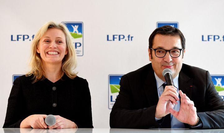 La présidente de la LFP, Nathalie Boy de la Tour, et Didier Quillot, le directeur général, en novembre 2016. (FRANCK FIFE / AFP)
