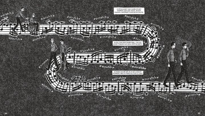 """""""L'accident de chasse"""", deDavid L. Carlsonet Landis Blair, pages 302-303 (Landis Blair / SONATINE EDITIONS)"""