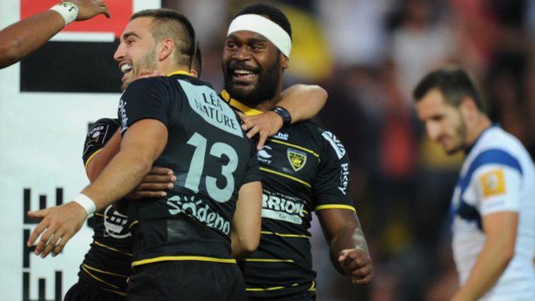 La joie des joueurs de La Rochelle (XAVIER LEOTY / AFP)