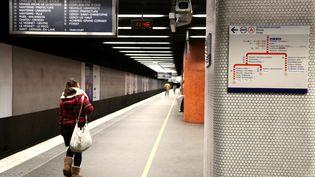 Une femme attend son RER à la station Gare de Lyon, le 29 janvier 2015 à Paris. (  MAXPPP)