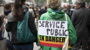 Des fonctionnaires manifestent à Paris le 9 mai 2019. (THOMAS SAMSON / AFP)