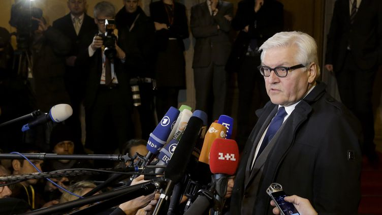 Le ministre des Affaires étrangères allemand, Frank-Walter Steinmeier,au cours d'une conférence de presse à Berlin, le 21 janvier 2015. (REUTERS)