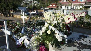 La tombe couverte de fleurs de Johnny Hallyday sur l'île caribéenne de Saint-Barthélémy, le 12 décembre 2017, au lendemain de son inhumation. (HELENE VALENZUELA / AFP)
