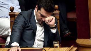 Le Premier ministre grec, Alexis Tsipras, lors d'un vote au Parlement, à Athènes, le 15 juillet 2015. (ARIS MESSINIS / AFP)