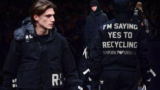 Emporio Armani automne-hiver 2020-21 à la Milan Fashion Week, le 11 janvier 2020 (MIGUEL MEDINA / AFP)