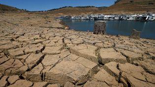 La marina du lac New Melones, en Californie (Etats-Unis),est presque entièrement asséchée, le 24 mai 2015. (MARK RALSTON / AFP)