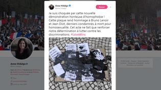 Le tweet de la maire de Paris, Anne Hidalgo, le 6 août 2018. (TWITTER/ ANNE HIDALGO)