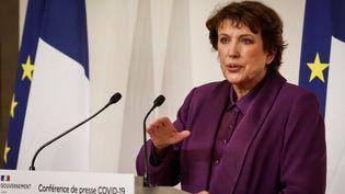 La ministre de la Culture Roselyne Bachelot en conférence de presse à l'Hotel Matignonle 22 octobre 2020. (LUDOVIC MARIN / AFP)