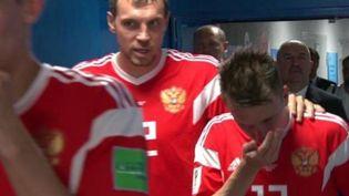 Capture écran de la vidéo de l'ARD des joueurs de la sélection allemande avant le match contre la Croatie, le 7 juillet 2018. (ARD)