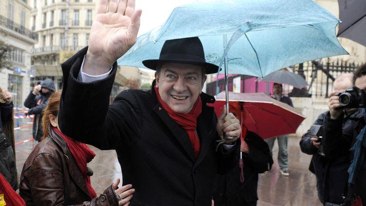 Jean-Luc Mélenchon, coprésident du Parti de gauche, lors d'une manifestation syndicale à Marseille, le 18 janvier 2014. (FRANCK PENNANT / AFP)