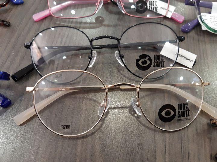 Les lunettes proposées par la réforme 100% Santé à partir du 1er janvier 2020. Chaque fabricant de lunettes doit proposer une gamme de 55 montures. Ici, c'est la gamme Afflelou. (SOLENNE LE HEN / FRANCE-INFO)