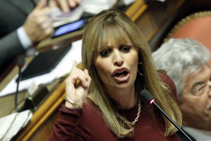 L'Italienne Alessandra Mussolini, petite-fille de Benito Mussolini,le 27 novembre 2013 à Rome (Italie). (MAXPPP)