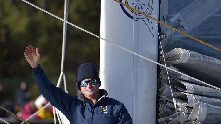 Le skipper Sébastien Josse aux Sables-d'Olonne le 6 novembre 2016. (LOIC VENANCE / AFP)