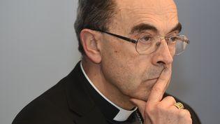 Le cardinal Philippe Barbarin lors de la conférence des évêques à Lourdes (Hautes-Pyrénées), le 15 mars 2016. (ERIC CABANIS / AFP)