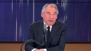 François Bayrou, haut-commissaireauPlan,mairedePauetprésidentduMoDem, le 8 avril sur franceinfo. (FRANCEINFO / RADIOFRANCE)
