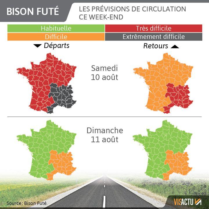 Bison Futé : du noir sur les routes samedi. (VISACTU / FRANCEINFO)