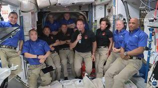 Capture d'une vidéo montrant Thomas Pesquet et ses coéquipiers astronautes arriver dans la Station spatiale internationale, le 24 avril 2021. (NASA / AFP)