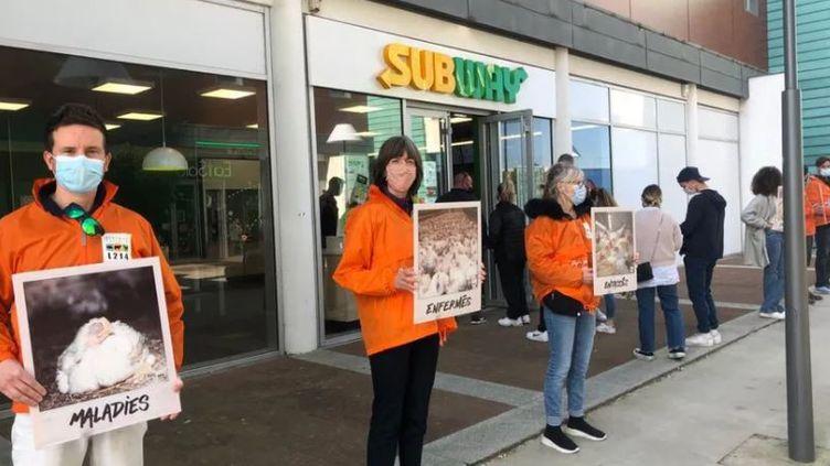 Une dizaine de militants de l'association L214 s'est alignée devant le restaurant Subway à Anglet pour dénoncer les conditions d'élevage des poulets servis dans les sandwichs. (SONIA GHOBRI / RADIO FRANCE)