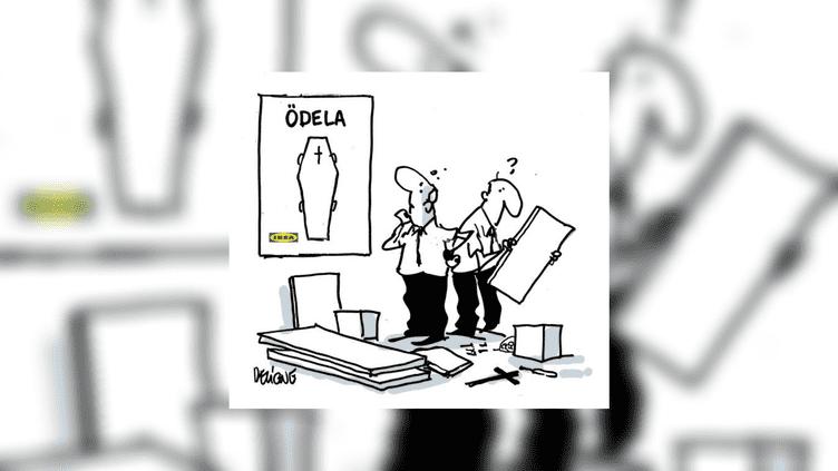 Un dessin de Deligne après la mort du fondateur d'Ikea, le 28 janvier 2018. (FDELIGNE / TWITTER)