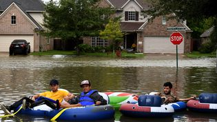 Les inondations à Houston (Texas) dues à l'ouragan Harvey. (MARK RALSTON / AFP)