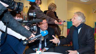 Dominique de Villepin à Evron (Mayenne),le 28 février 2012. (PHILIPPE CHEREL / MAXPPP)