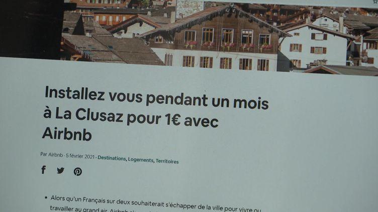Une annonce sur la plateforme Airbnb pour un séjour à 1 euro pendant un mois à clusaz en Haute-Savoie. (FRANCEINFO)